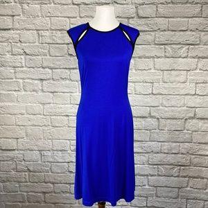 Calvin Klein Cobalt Blue Vegan Leather Trim Dress